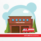 Значок здания пожарного депо в плоском стиле Непредвиденный офис огня Концепция для города infographic Стоковые Фотографии RF