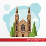 Значок здания церкви в плоском стиле Римско-католический церковь Концепция для города infographic иллюстрация вектора