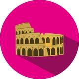 Значок дизайна вектора плоский римского Колизея Стоковое Изображение