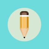 Значок дизайна значка карандаша плоский Стоковое Изображение
