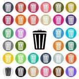 Значок дизайна современного мусорного ведра вектора плоский установил в кнопку Стоковые Изображения RF