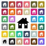 Значок дизайна современного дома вектора плоский установил в кнопку Стоковая Фотография