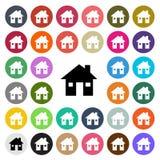 Значок дизайна современного дома вектора плоский установил в кнопку Стоковые Изображения