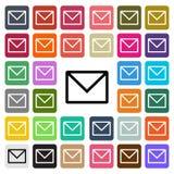 Значок дизайна современной электронной почты вектора плоский установил в кнопку Стоковое Изображение