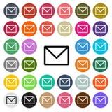 Значок дизайна современной электронной почты вектора плоский установил в кнопку Стоковое Фото