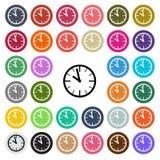 Значок дизайна современных часов вектора плоский установил в кнопку Стоковое Изображение