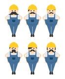 значок изображения портрета воплощения рабочий-строителя Стоковая Фотография
