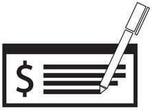 Значок или логотип валюты доллара на зарплате или чеке иллюстрация вектора