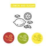 Значок лимона и сахара Стоковые Изображения