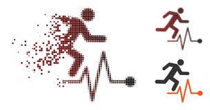 Значок ИМПа ульс человека полутонового изображения пиксела искры идущий иллюстрация вектора