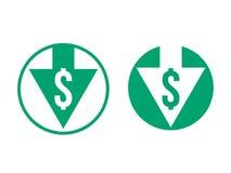 Значок индекса обменом уменшения доллара себестоимоста иллюстрация вектора