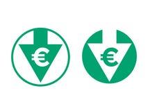 Значок индекса обменом уменшения евро себестоимоста иллюстрация вектора