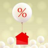 Значок и воздушный шар дома с знаком процентов Стоковое Изображение RF