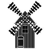 Значок или знак ветрянки изолированные на белой предпосылке Символ мельницы также вектор иллюстрации притяжки corel Иллюстрация н Стоковые Фотографии RF