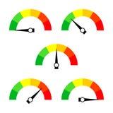 Значок или знак спидометра с стрелкой Собрание красочного элемента датчика Infographic иллюстрация вектора