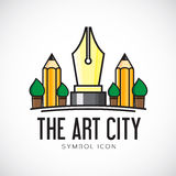 Значок или логотип символа концепции вектора города искусства Стоковые Изображения
