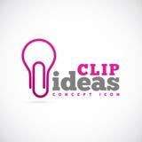 Значок или логотип символа концепции вектора идей зажима Стоковые Изображения RF
