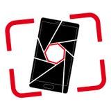 Значок или логотип с изображением smartphone Апертура и рамка видоискателя иллюстрация штока