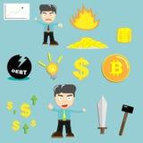 Значок и характер финансов дела смешивают для концепции cryptocurrency Bitcoin Стоковые Изображения RF