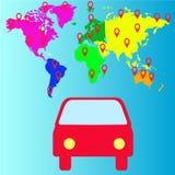 Значок иллюстрации автомобиля перемещения плоский, вектор Стоковое Фото