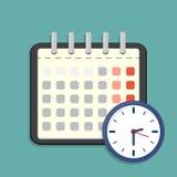 Значок календаря и часов План-график, назначение также вектор иллюстрации притяжки corel иллюстрация вектора