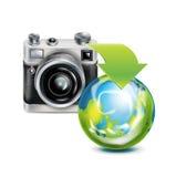 Значок камеры и изолированный глобус земли Иллюстрация вектора