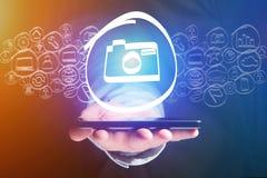 Значок камеры идя вне интерфейс smartphone - concep технологии Стоковое фото RF