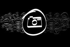 Значок камеры смешал в облаке значка изолированном на предпосылке Стоковая Фотография RF
