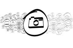 Значок камеры смешал в облаке значка изолированном на предпосылке Стоковое Изображение RF