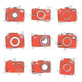 Значок камеры фото шаржа вектора установленный в шуточном стиле Photographe иллюстрация вектора