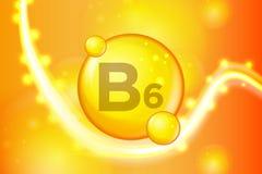 Значок капсулы таблетки золота Витамина B6 светя Комплекс витамина с химической формулой золото блеска сверкнает Медицинский и фа иллюстрация штока