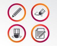 Значок карандаша Редактируйте фаил документа Знак ластика Стоковое Изображение RF