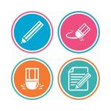 Значок карандаша Редактируйте фаил документа Знак ластика Стоковое Фото