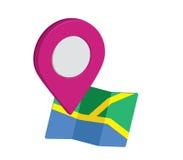 Значок карты дизайн Pin 3D Стоковые Изображения