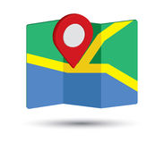 Значок карты дизайн Pin 3D Стоковое Фото