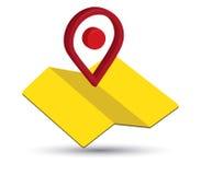 Значок карты дизайн Pin 3D Стоковое Изображение