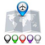 Значок карты с пестроткаными указателями Pin Стоковые Фото