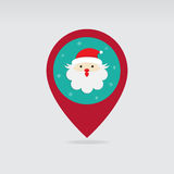 Значок карты штыря рождества Санты плоский Стоковые Фотографии RF