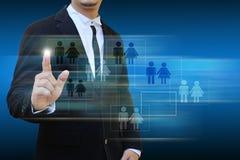 Значок касания бизнесмена социальной сети Стоковая Фотография RF
