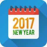 Значок календаря вектора стиля Нового Года плоский иллюстрация штока