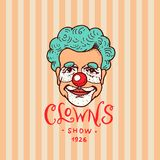 Значок клоуна цирка Ретро юморист Винтажный логотип или эмблема масленицы Ярлык для знамени и выставки фестиваля мило иллюстрация штока