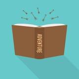 Значок книги Концепция приключения, жанра небылицы Стоковое Фото