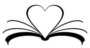 значок книги с сердцем сделанным из страниц Концепция чтения влюбленности бесплатная иллюстрация