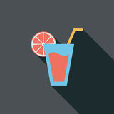 Значок коктеиля плоский с длинной тенью Стоковые Изображения