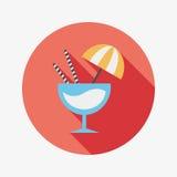 Значок коктеиля плоский с длинной тенью Стоковое Изображение RF