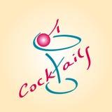 Значок коктеиля, стекло для коктеилей с вишней, illustrat Стоковая Фотография
