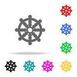 Значок колеса дракона Элементы значков вероисповедания multi покрашенных Наградной качественный значок графического дизайна Прост иллюстрация вектора
