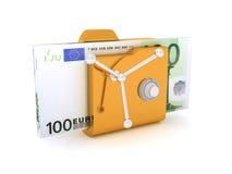 Значок компьютера на пакет безопасной папки безопасный 100 иллюстрация банкнот 3D евро Стоковые Изображения