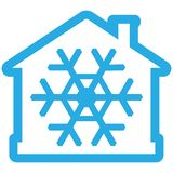 Значок кондиционера воздуха, дом с снежинкой как голубое contiur бесплатная иллюстрация