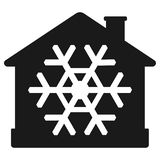 Значок кондиционера воздуха, дом с снежинкой бесплатная иллюстрация